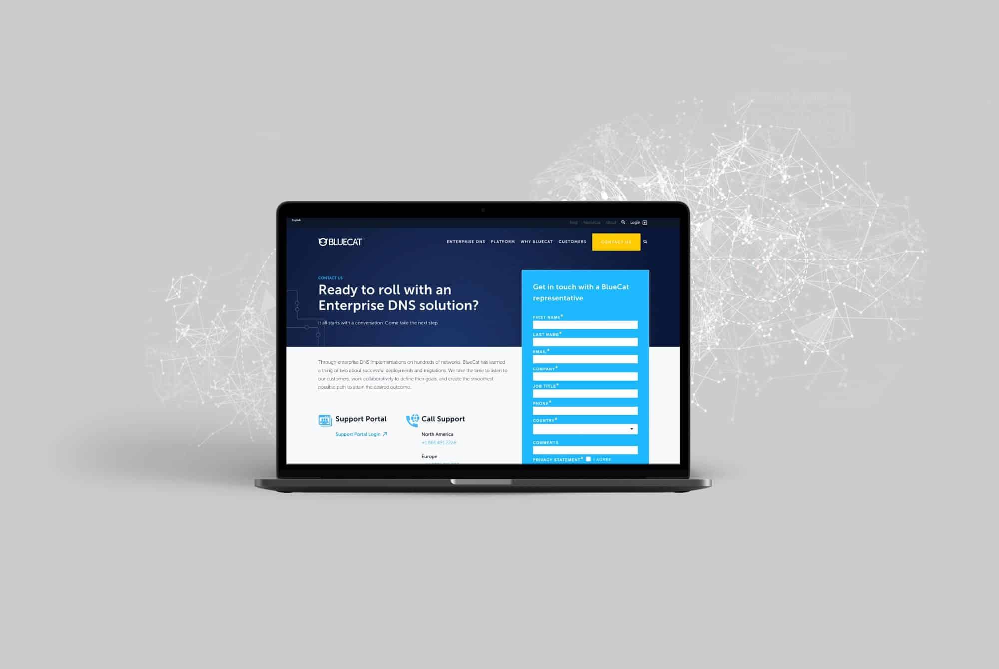 bluecat landing page design